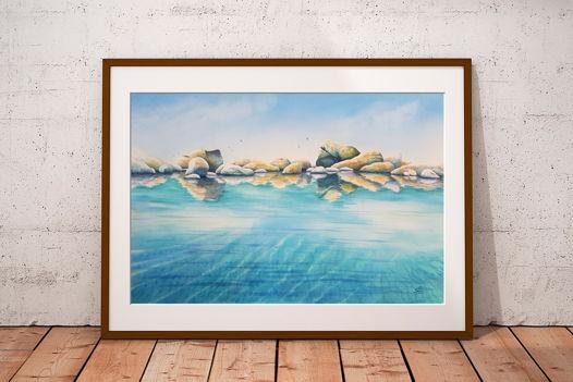 """Акварельная картина """"Морские блики"""" (56 х 38 см)"""