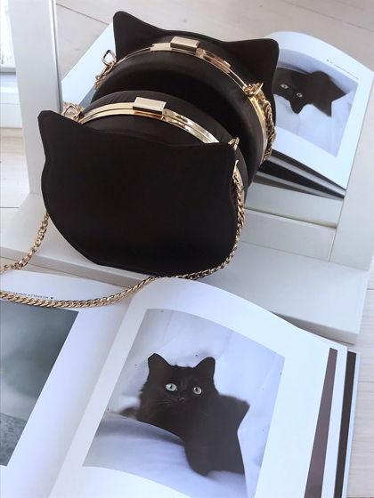 Клатч Котик чёрный из натуральной кожи на цепочке