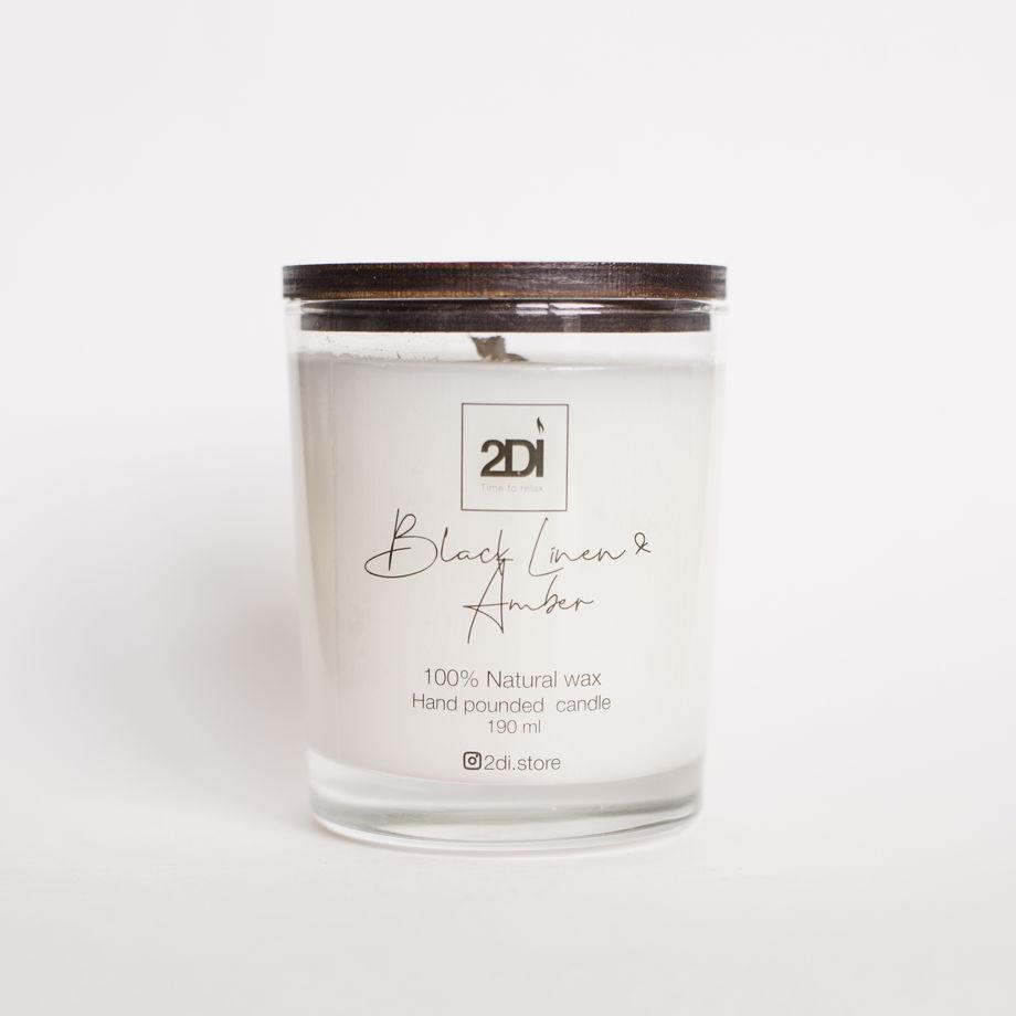 Ароматическая свеча 190 мл, Black Linen & Amber, Чёрный лён и амбра