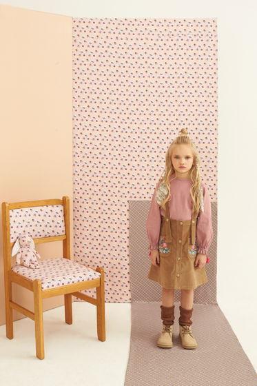 Вельветовая юбка с вышивкой песочного цвета MISHA SAND