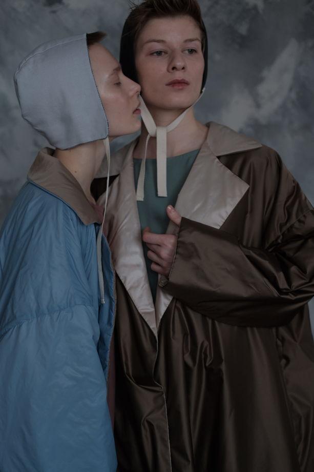Béguin (Чепчик)  женский летний двухсторонний ( голубой/светлый)