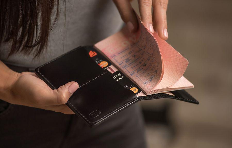 Обложка для паспорта, из натуральной кожи, модель Road