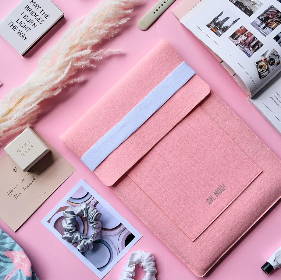 Чехол из фетра для MacBook и ноутбуков, розовый, вертикальный с крышкой