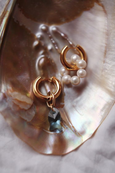 Серьги-кольца трансформеры с Натуральным жемчугом и кристаллом Swarovski