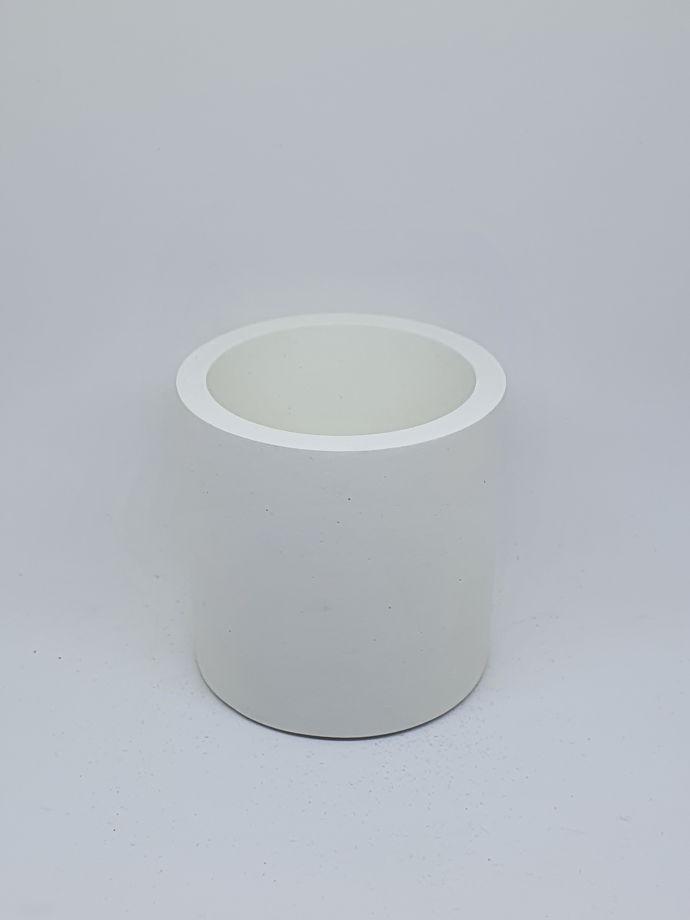 Кашпо из бетона белый цилиндр