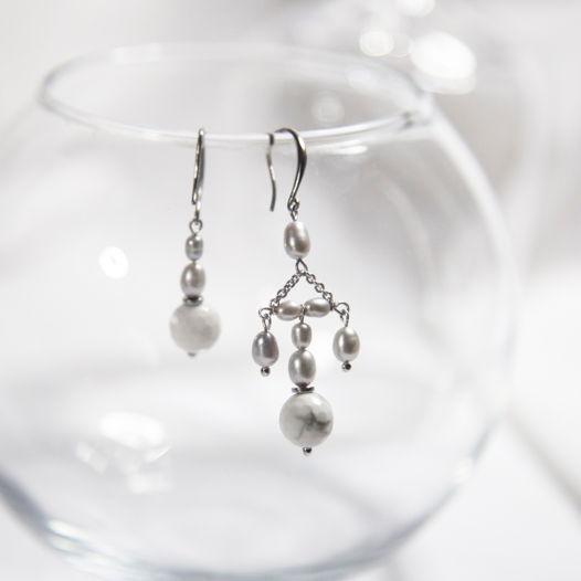 Асимметричные  серьги из серебра по образцам висячих сережек тройчаток из 17 века, которые носили вместе с кокошниками.