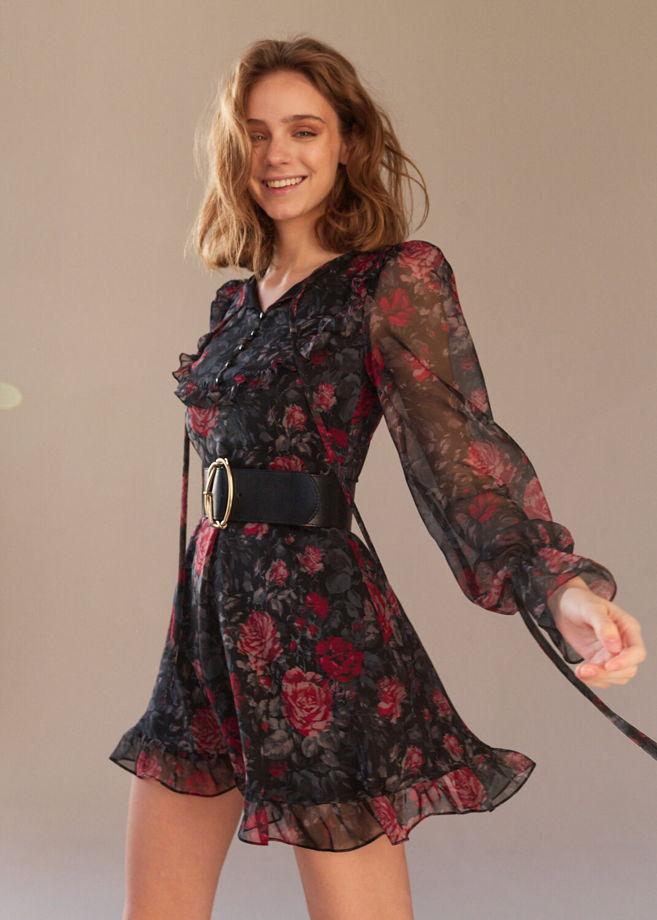 Шифоновое платье с завязками