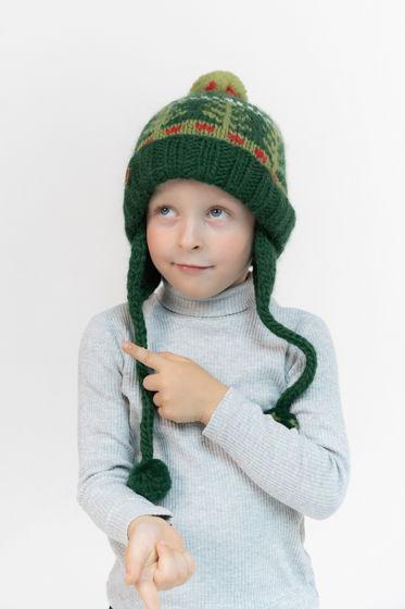 """Зеленая детская зимняя шапка """"Ежики"""" из 100%ной мягкой шерсти с флисовым подкладом"""