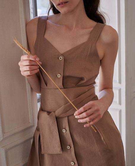 Сарафан в винтажном стиле изо льна цвета какао