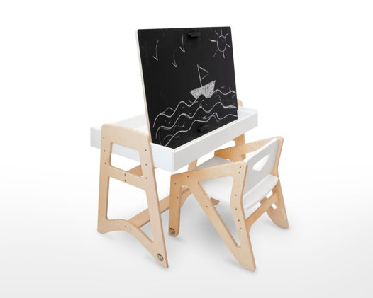 Растущий комплект: стул и стол-песочница с мольбертом