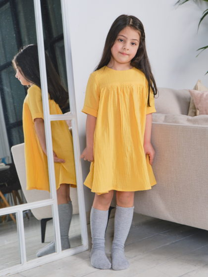 Муслиновое платье для девочки (желтый)
