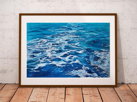 Акварельная картина Морские волны (56 х 38 см)