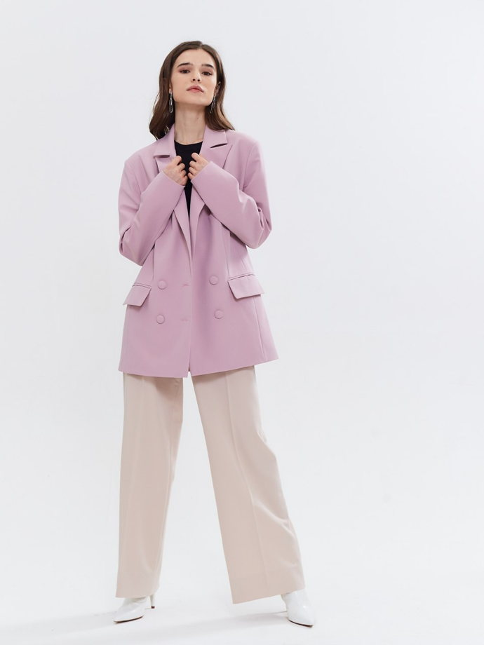 Жакет оверсайз пудровый розовый