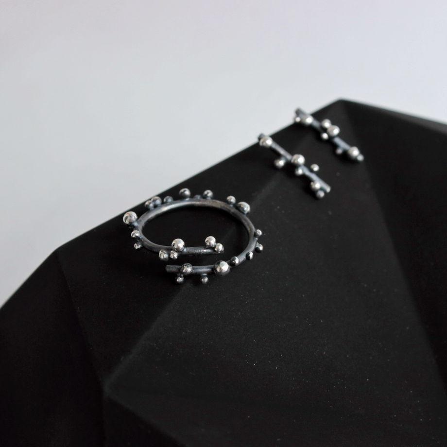 Серьги-гвоздики Веточка из серебра