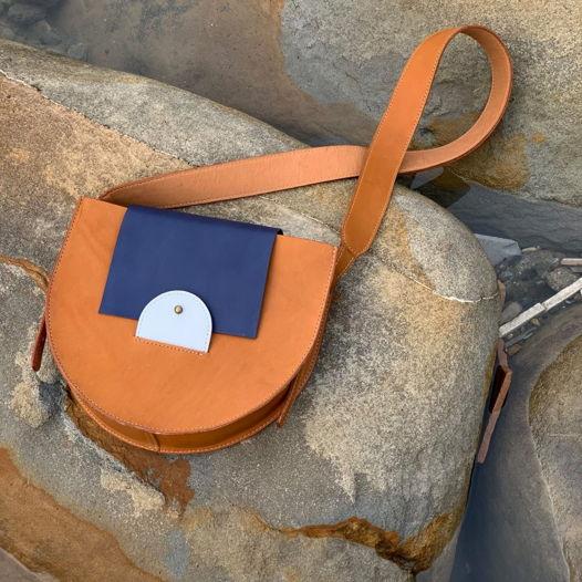Кожаная сумка Suprematism Copper/Navy