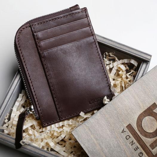 Кожаный кошелек  для карт, купюр и монет на молнии Torny