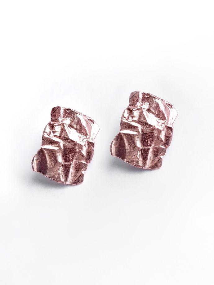 """Серебряные серьги прямоугольники """"Folio pink"""", 22*16 мм"""