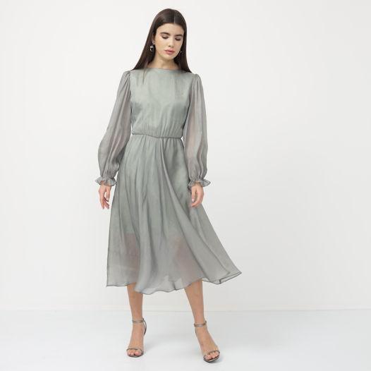 Серо-зелёное платье из органзы