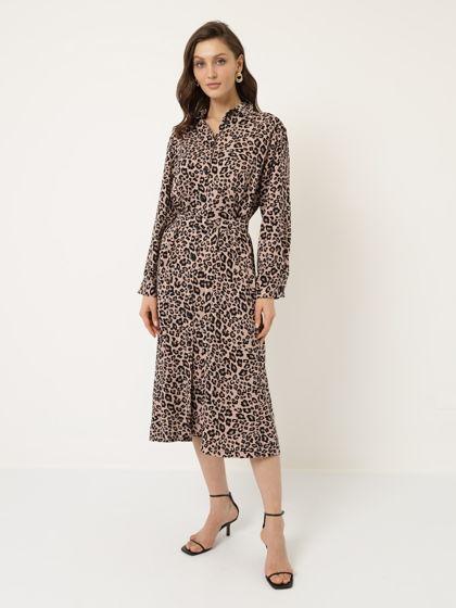 Платье рубашка леопард