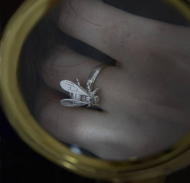 Кольцо серебряное Муха