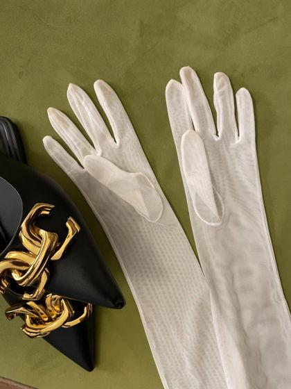 Белые длинные перчатки из плотной сетки стрейч