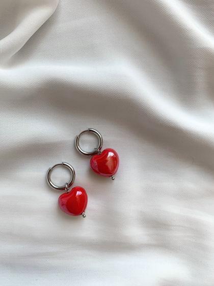 Серьги-конго круглые со съемными подвесками «Сердце» из керамики