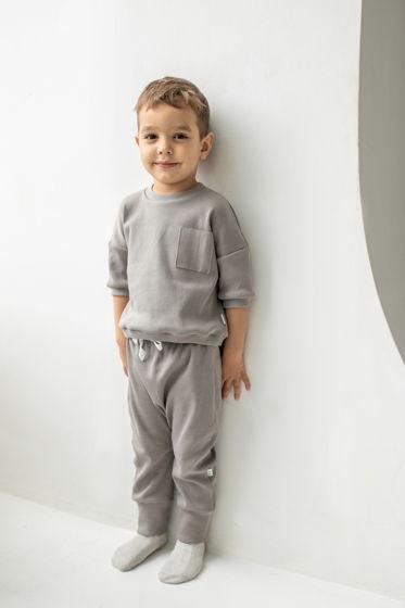 Детский базовый костюм из хлопка в рубчик