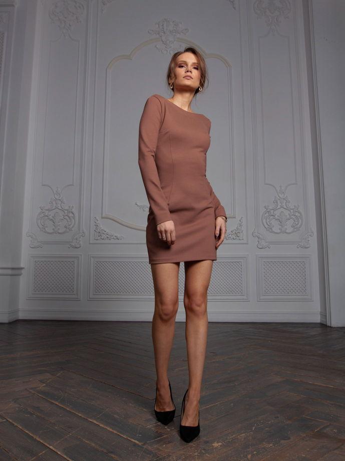 Платье Эсте из вискозы шоколадное