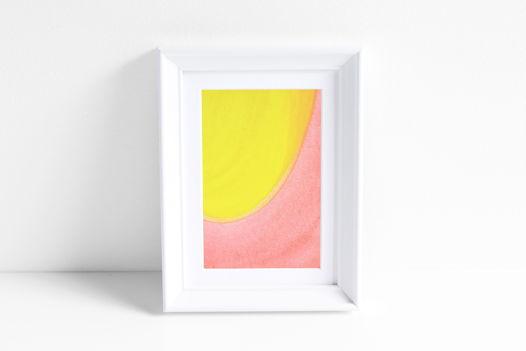 """Акварельный рисунок """"Лучи цвета: персиково-лимонный №1"""""""