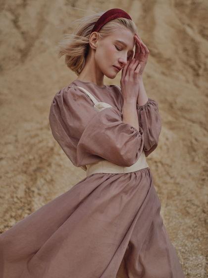 """Платье """"Облако"""" из натуральной органзы розово-коричневое"""