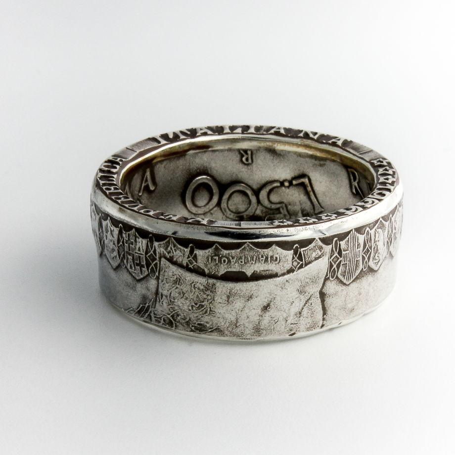 Кольцо из монет - Италия 500 лир с фантастическими гербами!