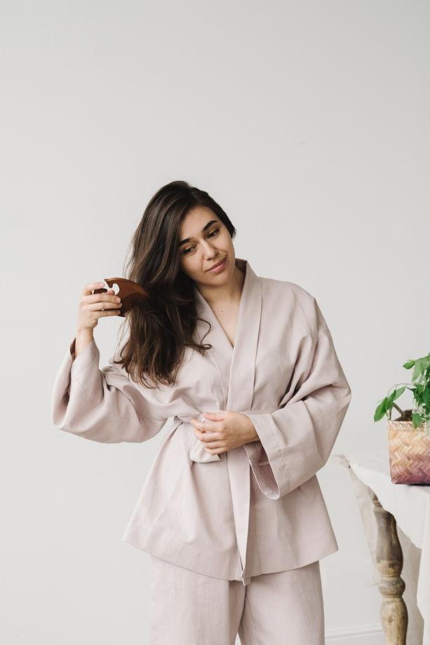 льняное короткое кимоно
