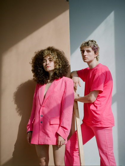 Розовый льняной костюм KATEPETROV унисекс