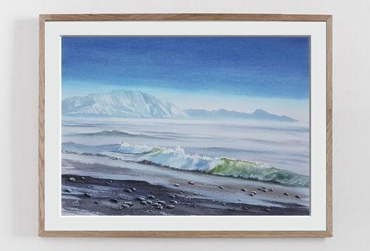 """Акварельная картина """"Морской пейзаж"""" (38 х 28 см)"""