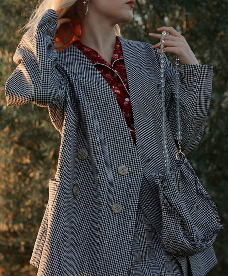 Оверсайз костюм из винтажной гусиной лапки
