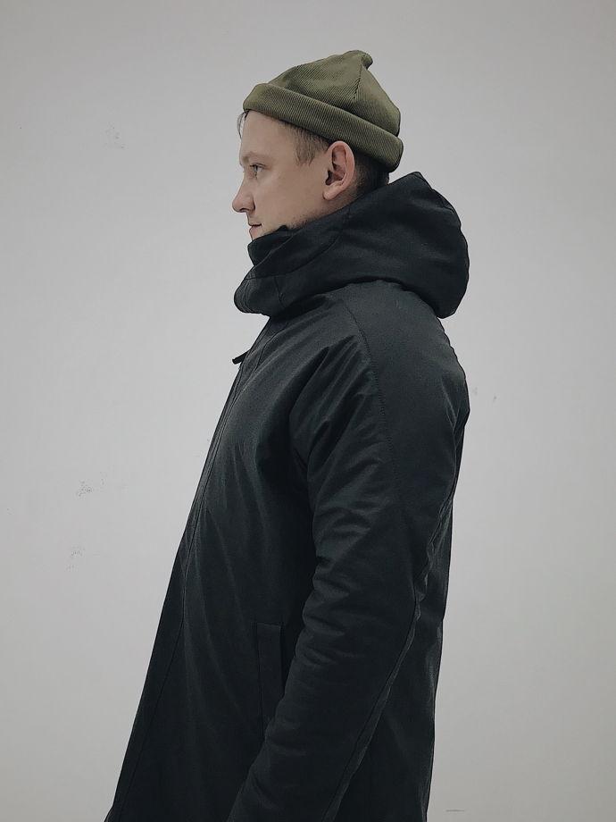 Парка асимметричного кроя мужская зимняя длинная