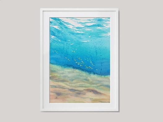 """Акварельная картина """"Под водой"""" (20,5 х 29,5 см)"""