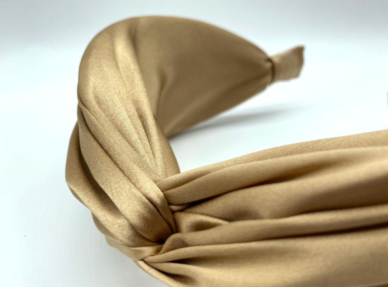 """Ободок из 100% натурального атласного шёлка в цвете """"песок"""""""