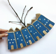 Статуэтка из 7 синих домиков дрифтвуд