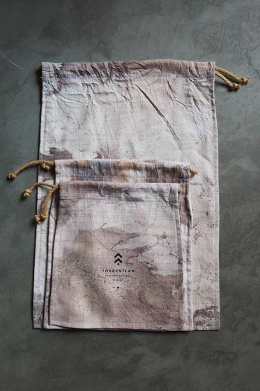 Комплект льняных мешочков для хранения с экопринтом из листьев FORRESTLAB
