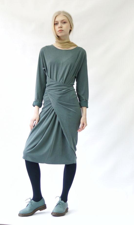 Платье ромб-трансформер | пудровый изумруд