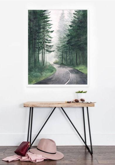 """Постер с авторской иллюстрацией """"Поворот дороги"""""""