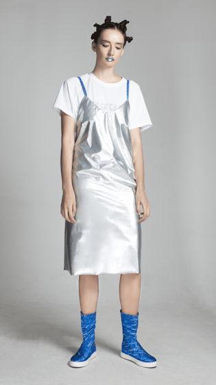 Платье серебряное металлик