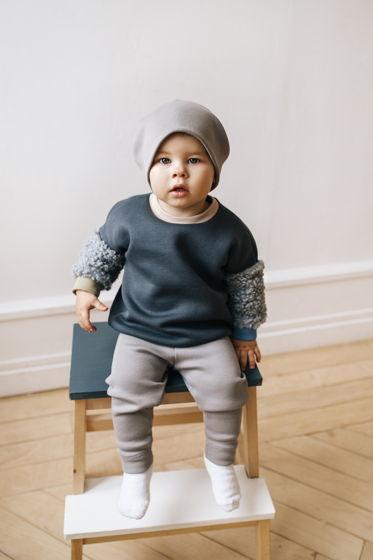 Детская базовая однотонная шапочка из хлопка в рубчик