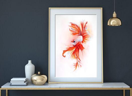 Акварельная картина с рыбой (28 х 38 см)
