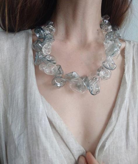 """Ожерелье из полых стеклянных бусин """"Орхидея"""""""