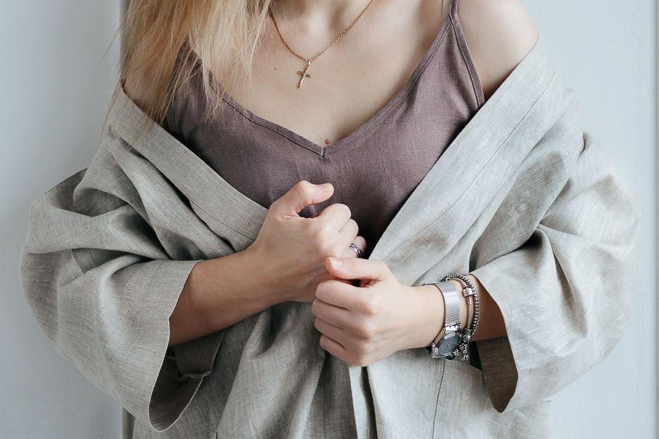 Халат-кимоно из 100% дважды умягченного льна и полульна