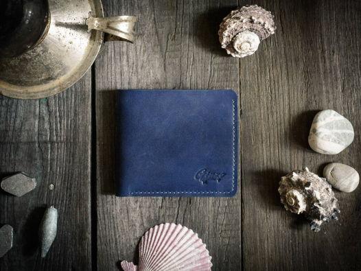 Бумажник из натуральной кожи -WAVE- цвет Синий Океан