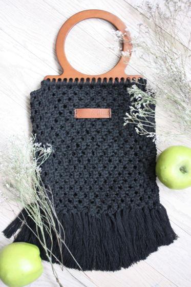 Плетеная сумочка-авоська с деревянной ручной