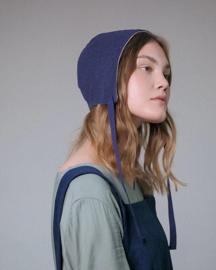 Béguin (Чепчик)  женский летний двухсторонний ( синий/светлый )